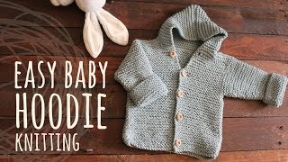 Tutorial Easy Baby Knitting Hoodie Cardigan