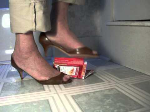 my modified d'Orsay heels crushing cardboard box 3dec13