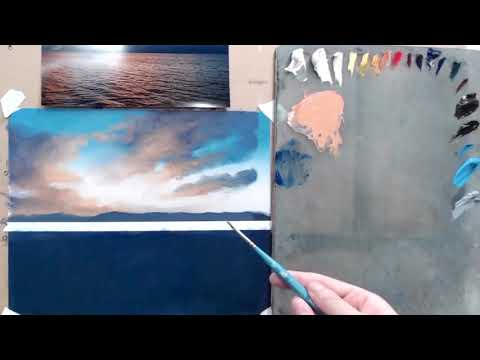 An excerpt from a video lesson about painting a bright sky and water.