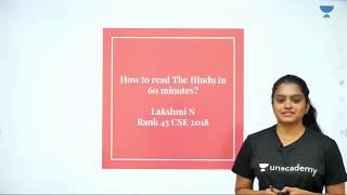 How to read The Hindu Newspaper in 60 minutes for UPSC CSE Preparatio | Lakshmi Nagappan (AIR 45)