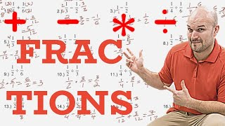 (52 Examples) Add, subtract, multiply and divide fractions