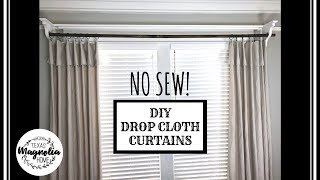 DIY DROP CLOTH CURTAINS & CURTAIN RODS