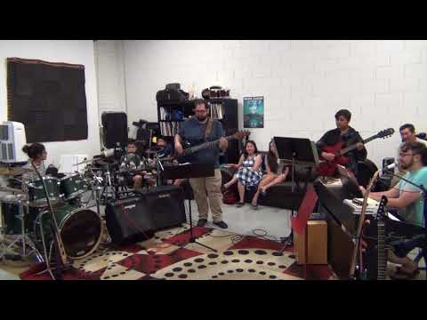 Me playing with a song with one of the bands at our studio