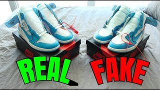 a7ab811382c How To  Tell If Your Jordan 1 Off White Unc Are Real Or Fake Comparison