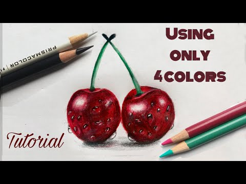 How To Draw Cherries   Colored Pencil Drawing For Beginners