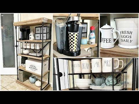 NEW!  KIRKLAND'S Rustic Shelf Turned Into A Coffee Station