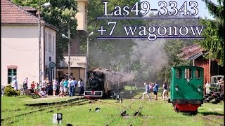 preview picture of video '[ Kolejka Rudy ] Parowóz Las49-3343 + 7 wagonów. 2013-05-19'