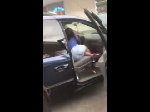 Three girls fight at gas station