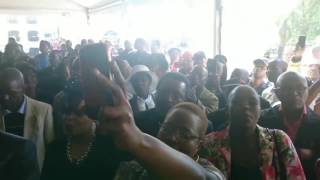 Zuma leads crowd in song, says he put everything aside to meet Ontlametse