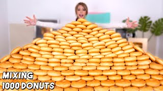 Mixing 1000 Donuts Into One Giant Donut!