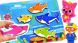 Baby shark sand is broken! Let's have fun with singing baby shark puzzles | PinkyPopTOY