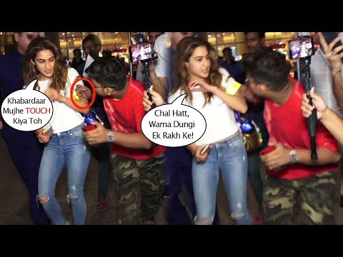 Sara Ali Khan Gets ANGRY When A Fan Tried To TOUCH Her While Taking Selfie