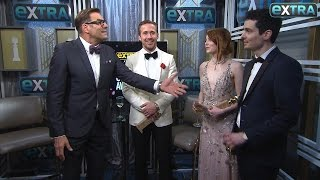 Ryan Gosling Emma Stone & Damien Chazelle On La La Lands Golden Globes Wins