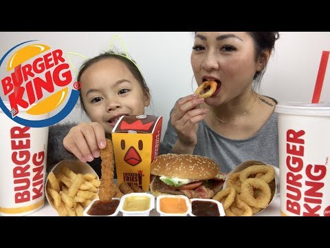 BURGER KING Bacon & Cheese Whopper, Chicken Fries | Mukbang | N.E Lets Eat