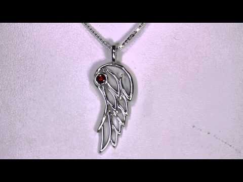 Angel Wing Pendant Sterling Silver with Garnet