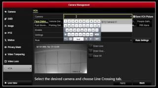 How to setup line crossing detection on a Hikvision NVR or DVR Graphic User interface GUI