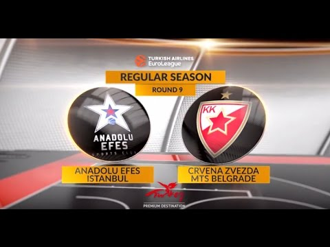 EuroLeague Highlights RS Round 9: Anadolu Efes Istanbul 100-79 Crvena Zvezda mts Belgrade