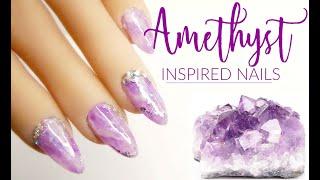 Amethyst Inspired Nail Design | Hard Gel