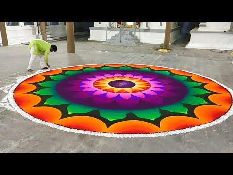 biggest sanaskar bharti mandala rangoli design by ganesh vedpathak