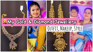 💁‍♀️MY PARTY WEAR JEWELLERY😍| OUTFIT💃| DIAMOND NECKLACE FOR ISHAAN 1ST BIRTHDAY🤩