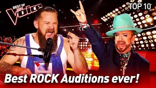 TOP 10 | ROCK Blind Auditions That Made The Voice Coaches Go Crazy!