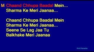 Chaand Chhupa Badal Mein Udit Narayan Alka Yagnik Duet Hindi Full Karaoke With Lyrics