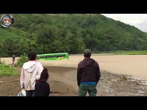 Fearless bus driver takes risky shortcut through flooded river | CCTV NEWS!