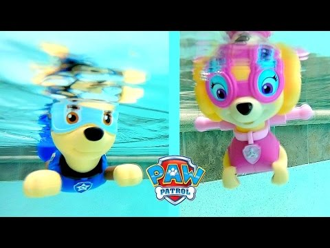 Download Paw Patrol Pool Party Bath Toys Paddlin Pup Underwater Toys Rescue Marshal, Skye, Chase, Rocky HD Mp4 3GP Video and MP3