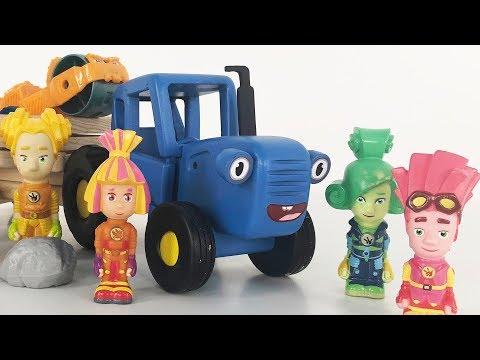 ФИКСИКИ ЧИНЯТ СИНИЙ ТРАКТОР - Поиграйка о том как фиксики помогли трактору отремонтировать колесо