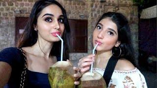 Girls Drinking Coconut Water