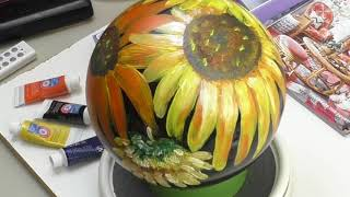 Sunflower Painting Bowling Ball Garden Art