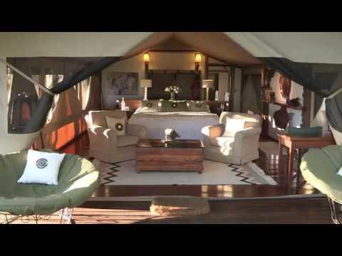 A virtual tour walking through a Luxury Tented Room at Sirikoi Lodge.