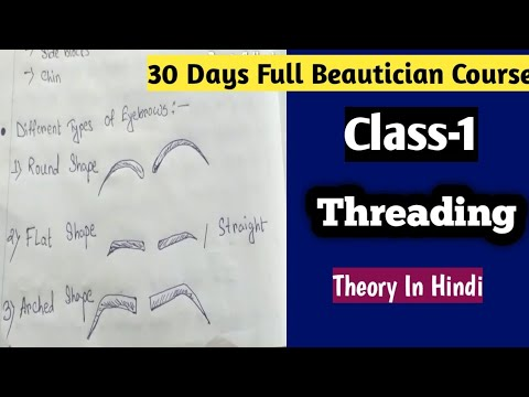 30 Days Beautician Course|Class-1|Threading|Theory In Hindi