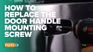 Step-by-step instructions on how to remove the door handle mounting screws on a Samsung french door refrigerator.