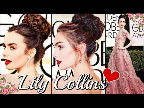 Lily Collins Golden Globes Makeup & Hair Tutorial | FORMAL 2017👠