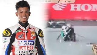 Video Detik-detik Pembalap Mohd Hafiz Tewas Tabrakan dengan Rekan Setimnya saat Balapan di Sirkuit