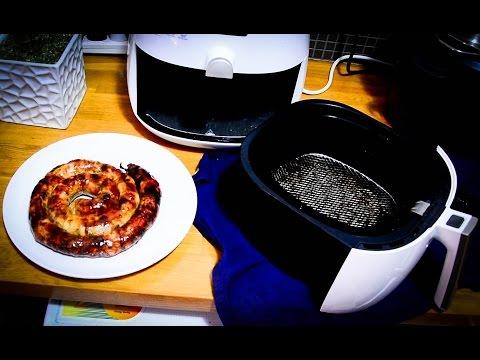 Fritando linguiça sem óleo na fritadeira Walita