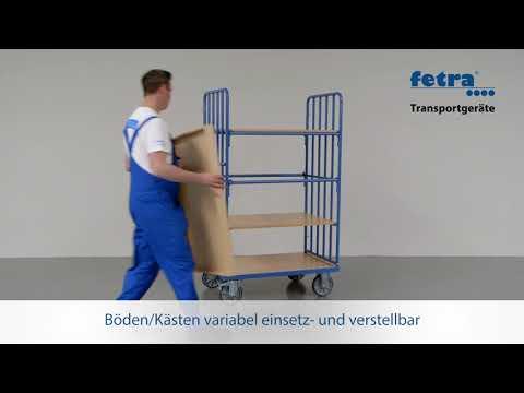 Fetra Etagenwagen mit 5 Böden,Längswand und Streben 1200x800mm-youtube_img