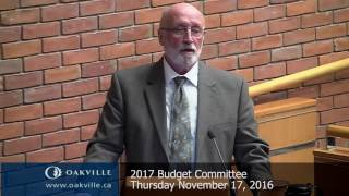 2017 Budget Committee meeting of November 17, 2016