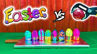 Experiment: Glowing 1000 degree METAL BALL vs EASTER EGGS