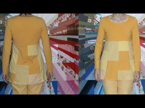 Upcycling – Tunika nähen aus Shirt – Backsteinmuster - alle Größen – ohne Schnittmuster