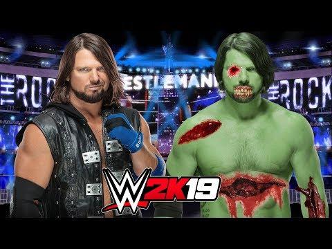 AJ STYLES vs ZOMBIE AJ STYLES | WWE 2K19 Gameplay