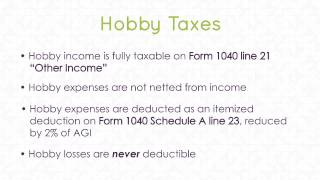 Hobbies & Taxes Income & Expenses