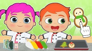 BABY ALEX AND LILY 🍪 Learn How to Make Christmas Cookies | Christmas Recipes for Kids
