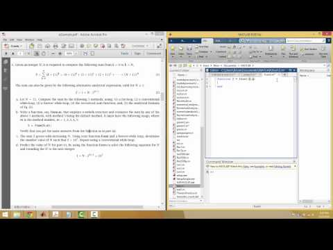 Matlab Practice Exam 2 (piecewise, for loops, while loops, tolerance ...