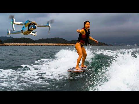 I took my New Drone Wake Boarding ??