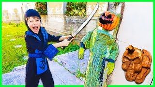 Ninja Kid Attacks CREEPY HALLOWEEN PUMPKIN (Found Top Secret Clues Hidden Inside!)