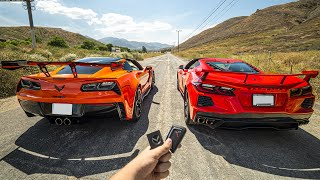 STOCK C8 CORVETTE VS STRAIGHT PIPED C7 ZR1 FROM A DIG! (0-60 AND MORE)
