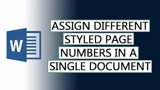 How to assign differently styled page numbers in a single document