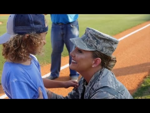 Little Boy Throwing First Pitch at Baseball Game Gets Surprised By Military Mom